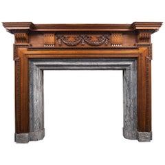 Large Antique Wooden Mantelpiece