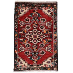 Vintage Persian Hamadan Accent Rug, Small Persian Rug