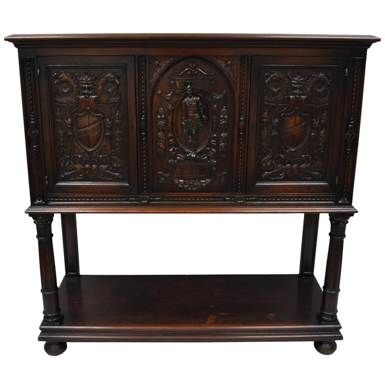 Antique Renaissance Revival Figural Carved Walnut Cabinet Sideboard Cupboard For Sale