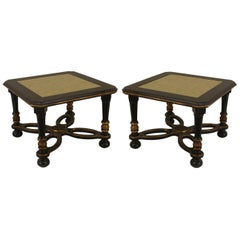 Pair of French 1940s Ebonized Low End Tables