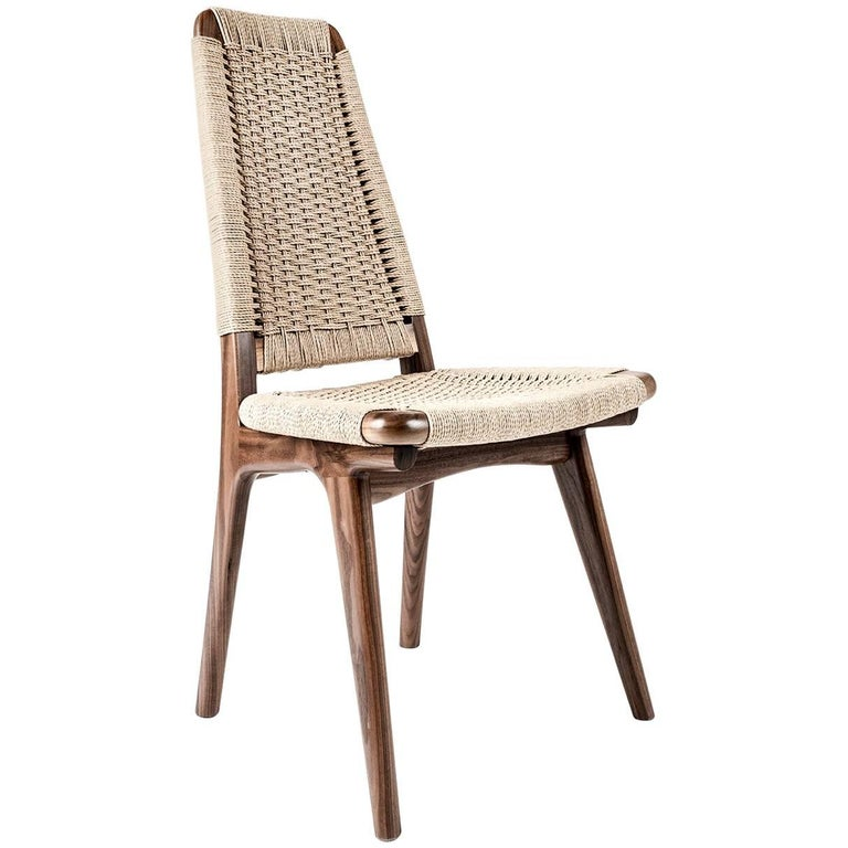 Chair, Woven Danish Cord, Walnut, Hardwood, Mid Century, Dining, Office,Semigood For Sale