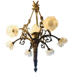 Early 20th Century Gilt Bronze and Glass Chandelier