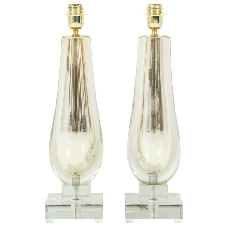 Pair of Clear and Gold Mirrored Murano Glass Lamps