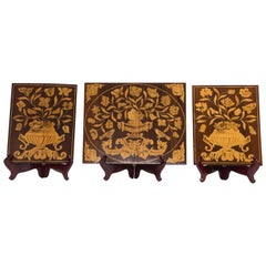 Set of Three Panels in Wood with Marquetry Inlay, Flower Patterns, 19th Century