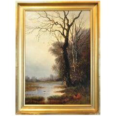 """19th Century École Française Oil on Canvas, """"Bord de la rivière"""""""