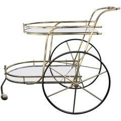 Hollywood Regency Italian Two-Tier Brass Bar Cart or Tea Trolley