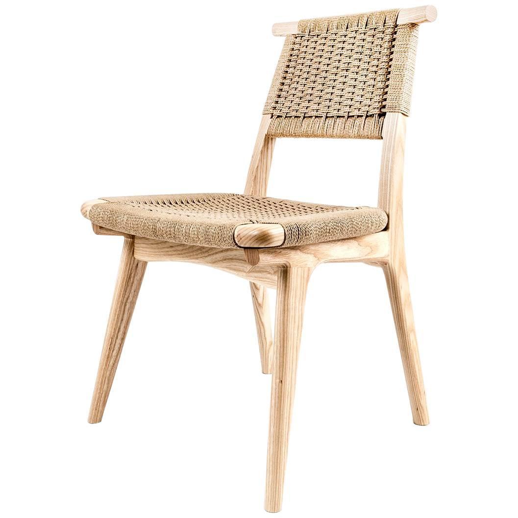 Chair, Woven Danish Cord, Hardwood, Mid Century, Dining, Office, Custom,Semigood