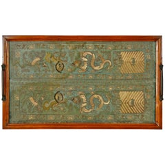 English Mahogany Butler's Tray with Chinese Silk
