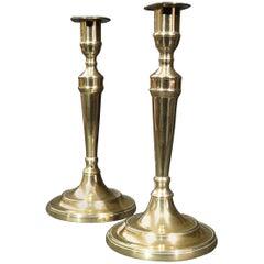 Pair of 18th Century Georgian Bell-Metal Candlesticks, England Circa 1760