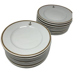 1940 GDA Limoges Plates Set, Gold and Black Rim with an Anchor Shield, France