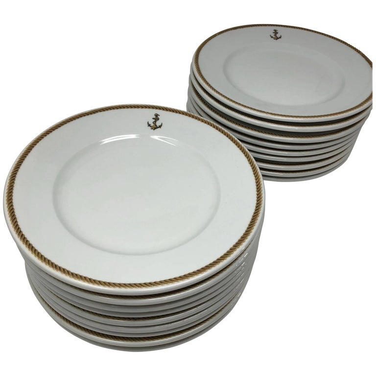 1940 GDA Limoges Plates Set, Gold and Black Rim with an Anchor Shield, France For Sale