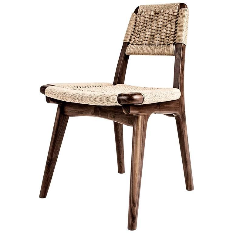 Woven Danish Cord And Hardwood Rian Low Back Chair, Dining, Office, Mid