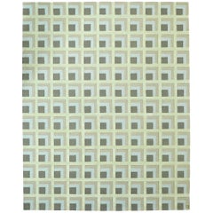 Angela Adams June, Grey Area Rug, 100% New Zealand Wool, Handcrafted, Modern