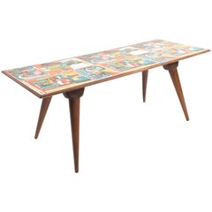 Low coffee table for living room. Printed wood. Attributable to De Poli Italy