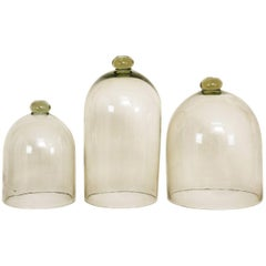 Set of Three French Glass Garden Cloches