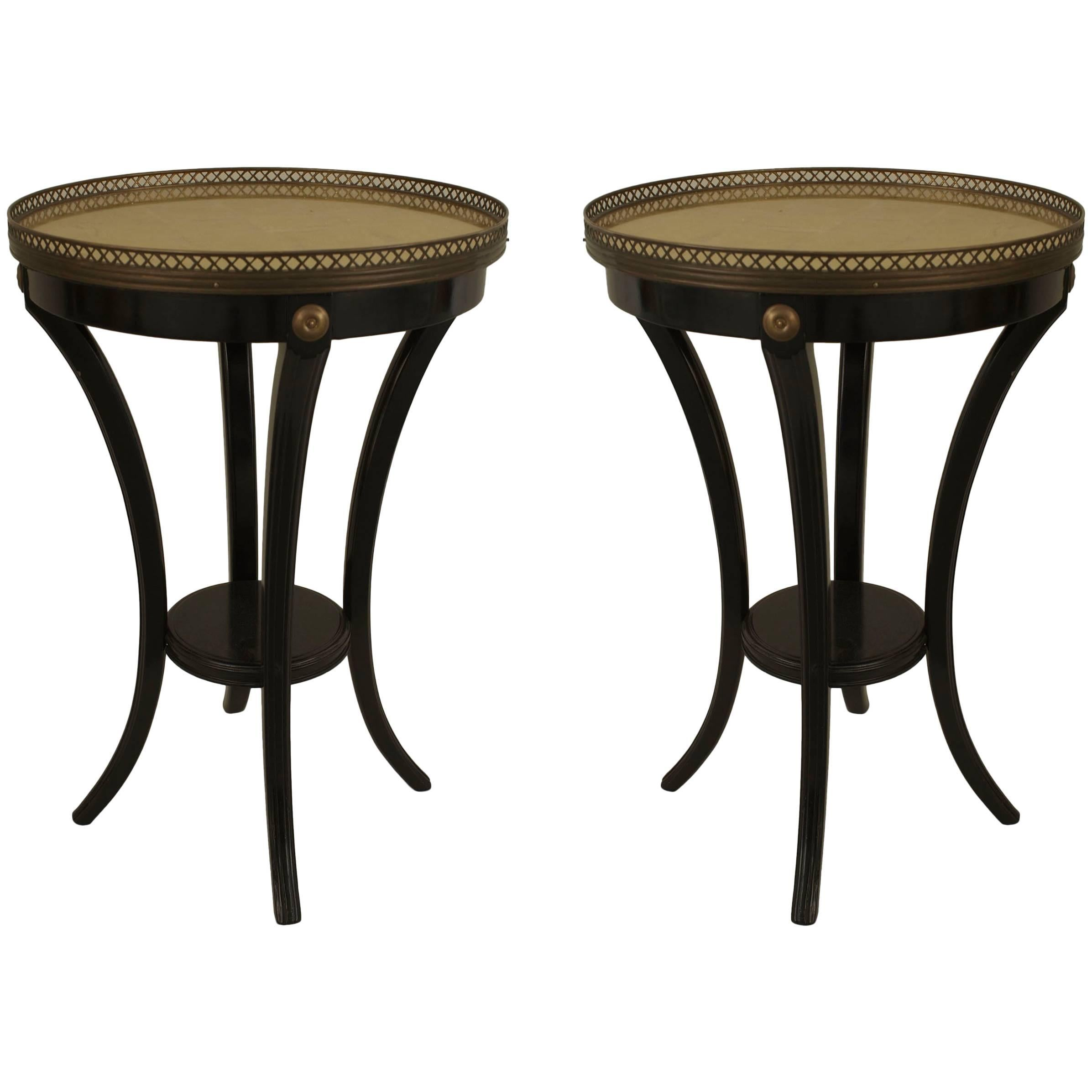 """Pair of French 1940s """"Louis XVI Style"""" Ebonized End Tables, by Jansen"""