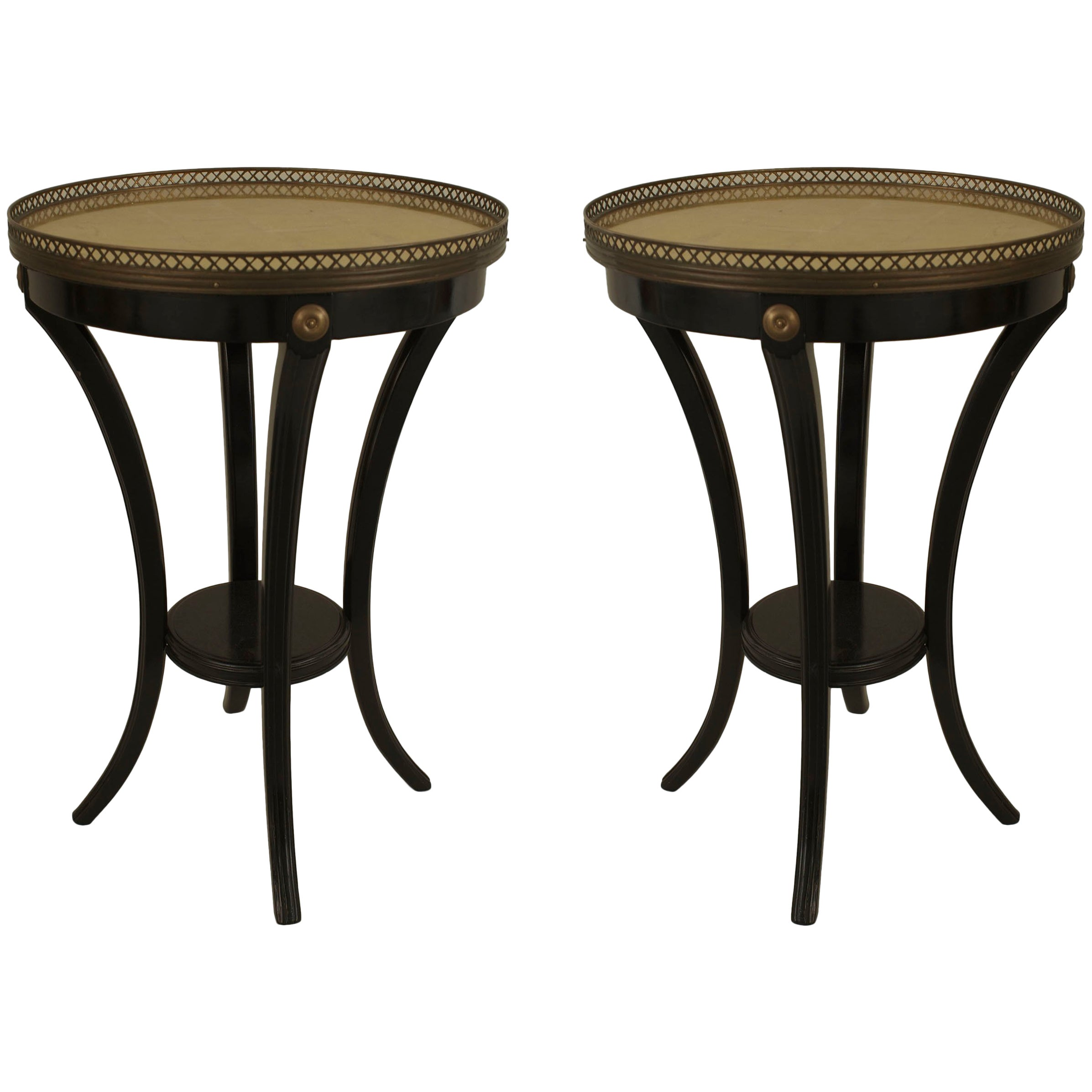 "Pair of French 1940s ""Louis XVI Style"" Ebonized End Tables, by Jansen"