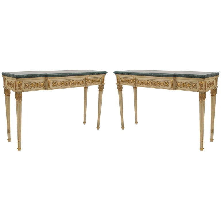 Pair of French Louis XVI Style, 1940s Off-White Painted and Gilt Carved Console