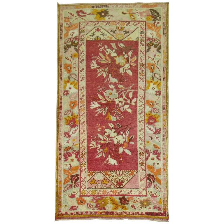 Vintage Turkish Floral Oushak Rug