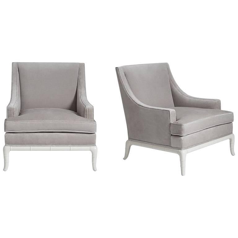 Chippendale Velvet Lounge Chair