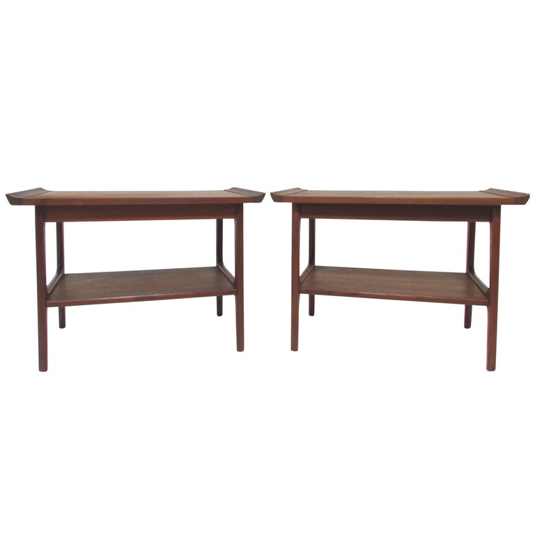 Pair of Japanese Teak End Tables in the Danish Modern Style, circa 1960s