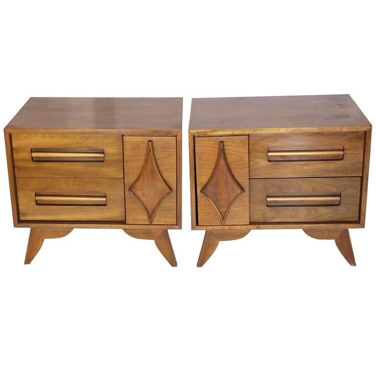 Pair of Large Walnut Nightstands End Tables with Small Bookcase