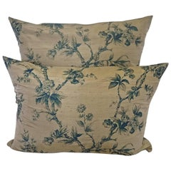 Pair of Mid-20th Century Continental Blue Floral Bronze Silk Pillows