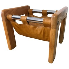 Danish Modern Oak and Leather Magazine Rack Holder Mobler