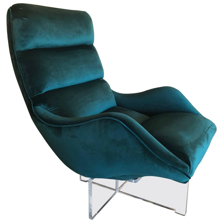 Vintage Vladimir Kagan Lucite Swivel Lounge Chair Green Velvet
