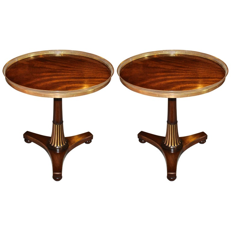 Pair of Midcentury Regency Style Mahogany Side Tables with Brass Gallery