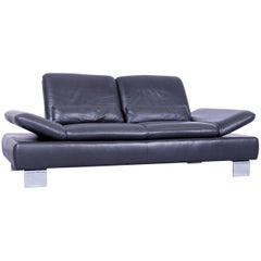 Willi Schillig Designer Sofa Two-Seat Grey Anthracite Leather Couch Function