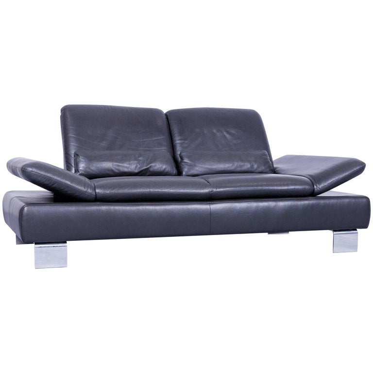 Willi Schillig Designer Sofa Two-Seat Grey Anthracite Leather Couch Function For Sale