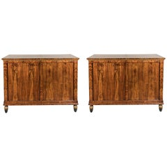 Pair of Fine, Tuscan, Burl Wood Cabinets