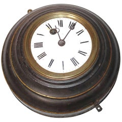 19th Century Round Black Tole Clock with White Face