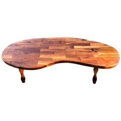 Mid-Century Modern Kidney Shaped Wooden Coffee Table