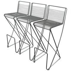 Set Architectural 'Kreuzschwinger' Bar Stools by till Behrens for Schlubach 1983