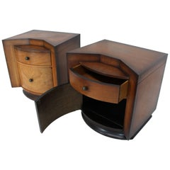 Pair of Deco Full Bodied Design Midcentury Nightstands End Tables Brass Pulls