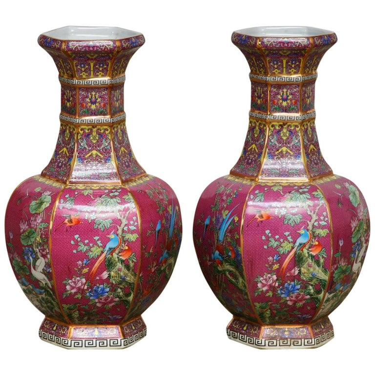 Pair of Chinese Porcelain Flora and Fauna Pink Vases