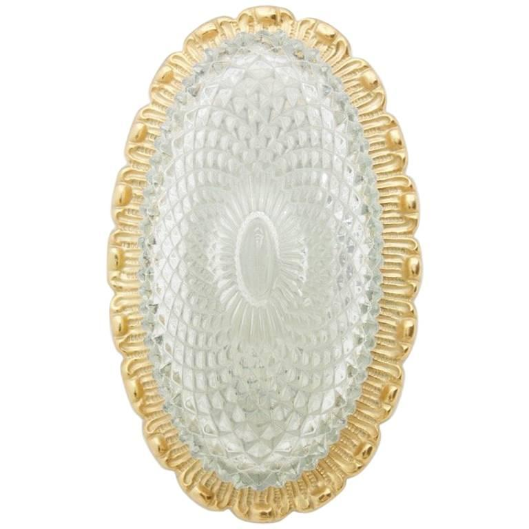 Set of Four Oval Wall Sconces with Textured Glass and Gilded Metal by Limburg