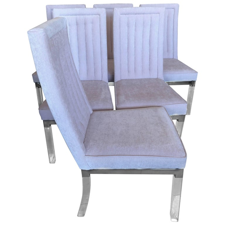 Charles Hollis Jones Lucite & Chrome Side Dining Chairs
