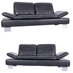 Willi Schillig Designer Sofa Set Two-Seat Grey Anthracite Leather Couch Function