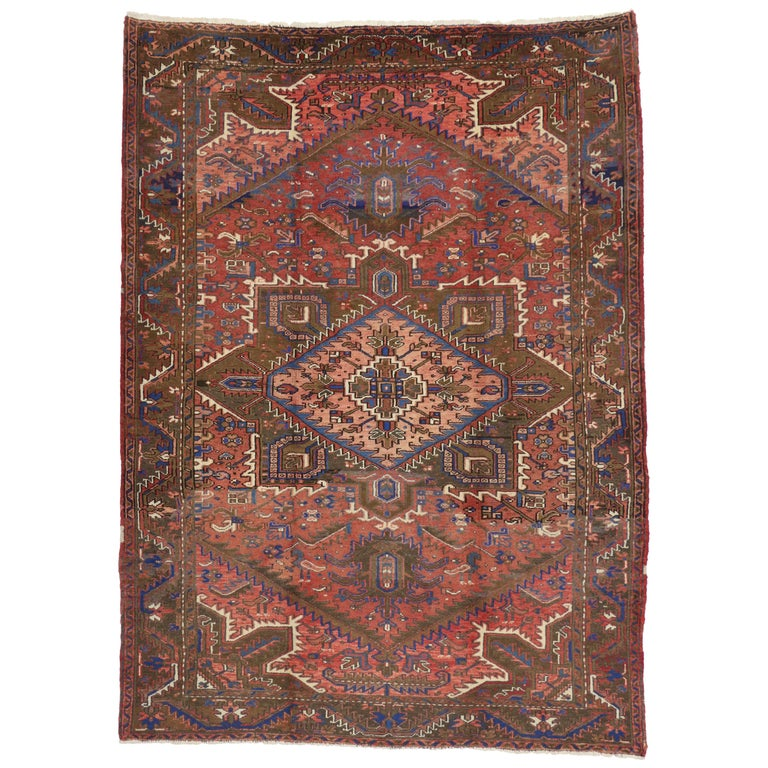 Traditional Vintage Persian Heriz Rug with Modern Rustic Style For Sale
