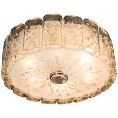 Mid-Century Modern Flush Mount Chandelier in Frosted and Textured Glass by Doria