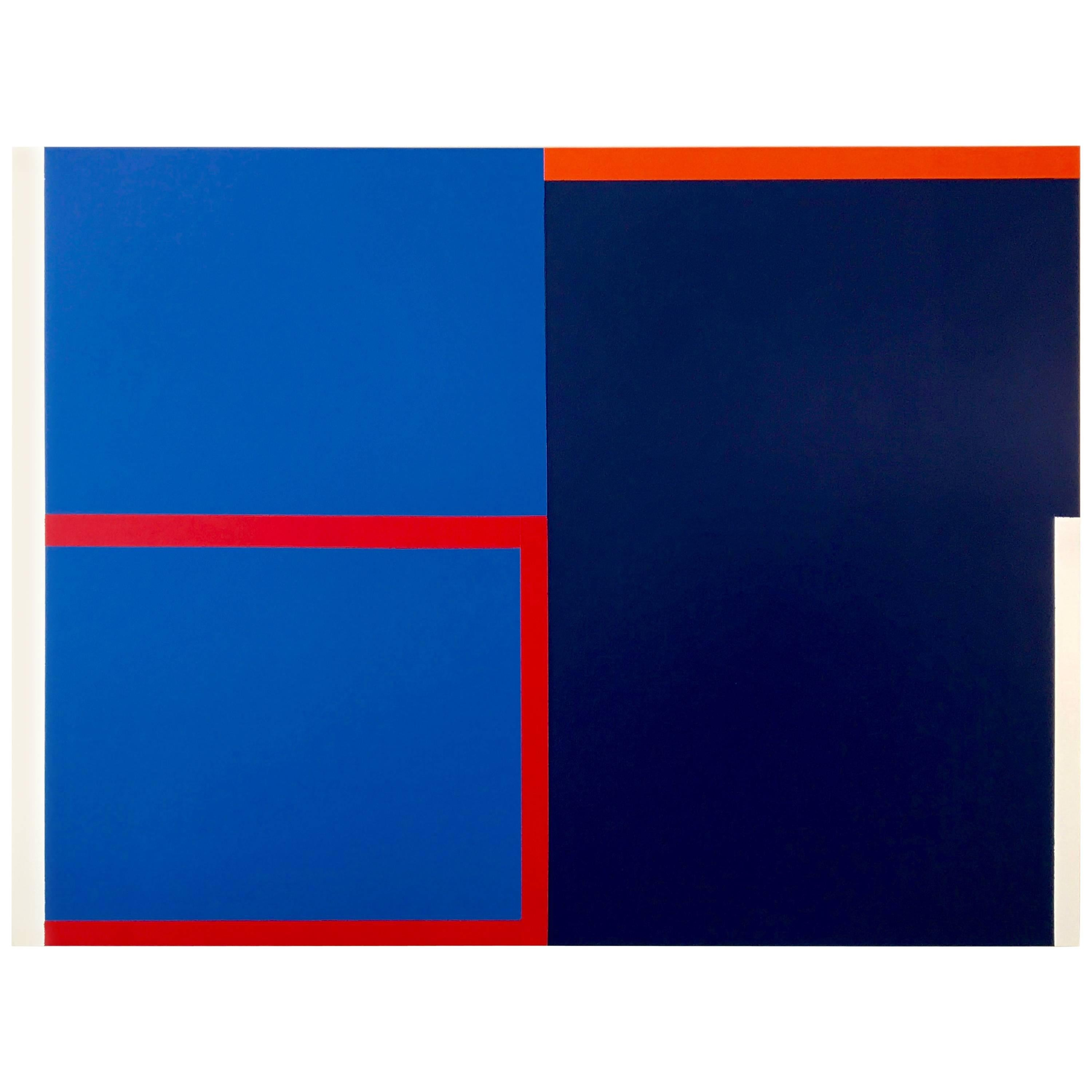 Large Blue Abstract Painting In The Style of Elsworth Kelly by Rebecca Ruoff