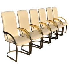 Milo Baughman Style Brass and Leather, Set of Chairs