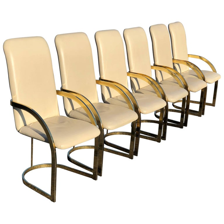 Milo Baughman Style Brass and Leather, Set of Chairs For Sale