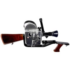 Gunstock with Bolex Movie Camera,Handgrip, by Famous Gun Smith, Mid-20th Century