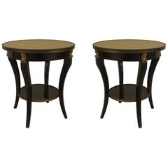 Pair of French 1940s 'Louis XVI Style' Ebonized and Bronze Trimmed End Tables