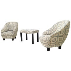 Pair of Armchairs and an Ottoman by Gio Ponti, Italy, 1930s