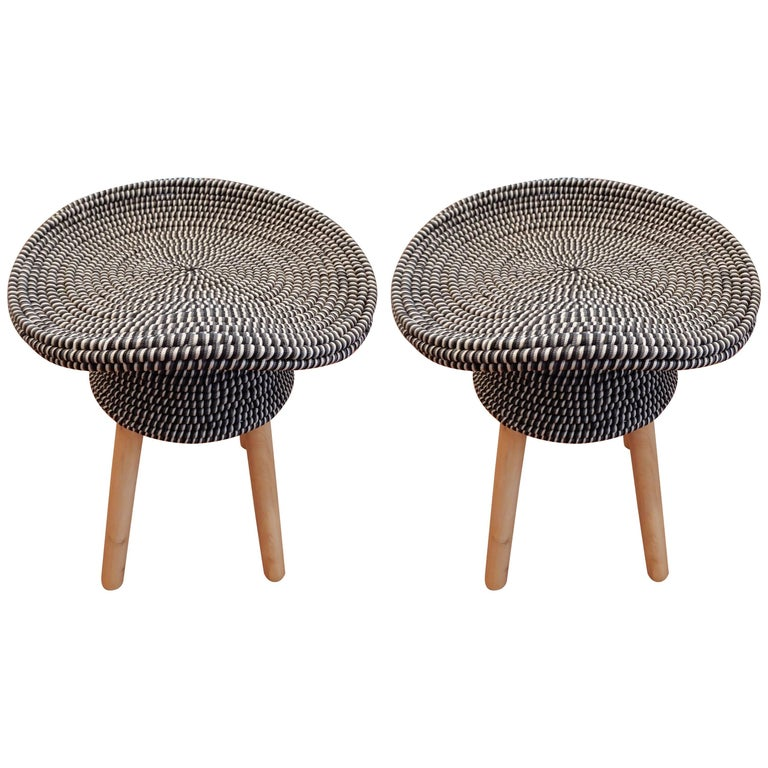 Pair of French Hat Stools For Sale